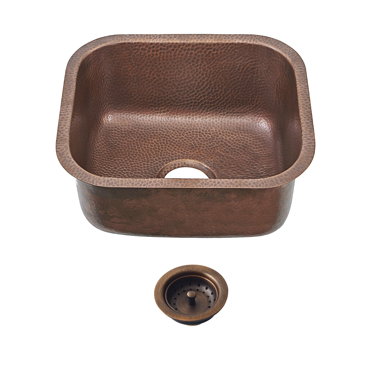 Sinkology SP503-18AC-AMZ-B  Sisley Pro Undercount Bar Prep Copper 18.5 In. Sink Kit With Strainer Drain Copper Kitchen Sink, 18.5 X 16.5 X 9'', Antique Copper
