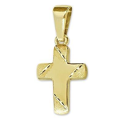 9381f2424981 Clever joyas dorado pequeño colgante Mini Cruz 11 x 8 mm Barra Extremos  Mate Interior tallado brillante 333 Oro 8 quilates en estuche  Amazon.es   Joyería