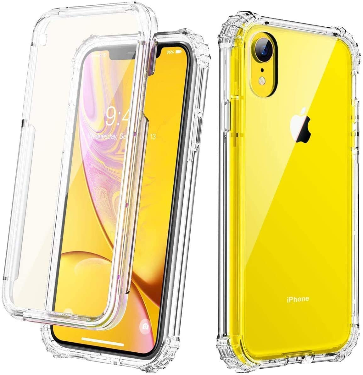 Vooii iPhone XR Case, [Built in Screen Protector] Slim Anti-Scratch Full-Body Shockproof Dual Layer Protective Transparency Soft TPU Cover Case for iPhone XR,Clear