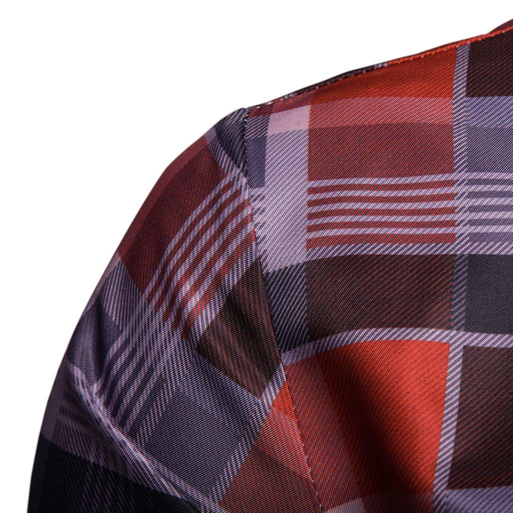 NUWFOR Men's Long Sleeve Lattice Plaid Painting Large Size Casual Top Blouse Shirts(Red,XL US/3XL AS Bust:43.2'') by NUWFOR (Image #3)
