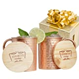 Amazon Price History for:Advanced Mixology Moscow Mule Gift Set 100% Pure Copper Mugs (Set of 2)- 16 Ounce with 2 Artisan Hand Crafted Wooden Coasters