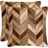Safavieh Pillow Collection Cowhide 22 by 22-inch Brown Set of 2