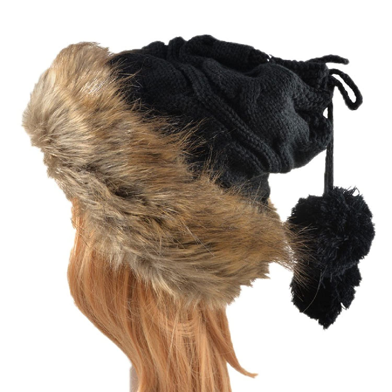 YABINA Womens Girls Knitted Fur Hat Faux Large Fur Pom Pom Beanie Hats