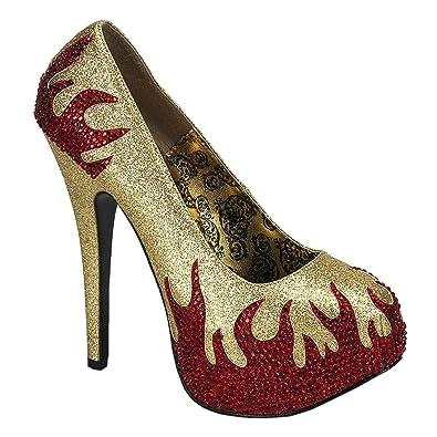 a4659dea3db2f Womens Red Rhinestone Flame Shoes 5 3/4 in Heel Devil Pumps Black Gold  Costume