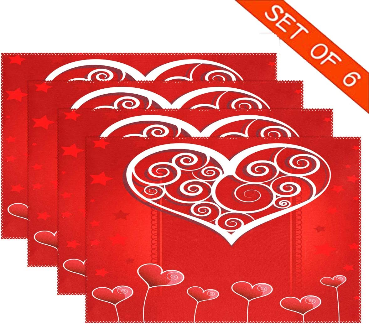 Heart Love Valentine's Day PlaceMats Table mats for Kitchen Dining Set of 6 Romantic Rose Red XOXO Valentines Place mats Tablemats 12x18 inch for Wedding Party Tabletop Home Decor