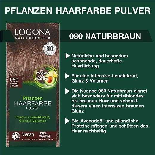 LOGONA Naturkosmetik Tinte vegetal para el cabello en polvo ...