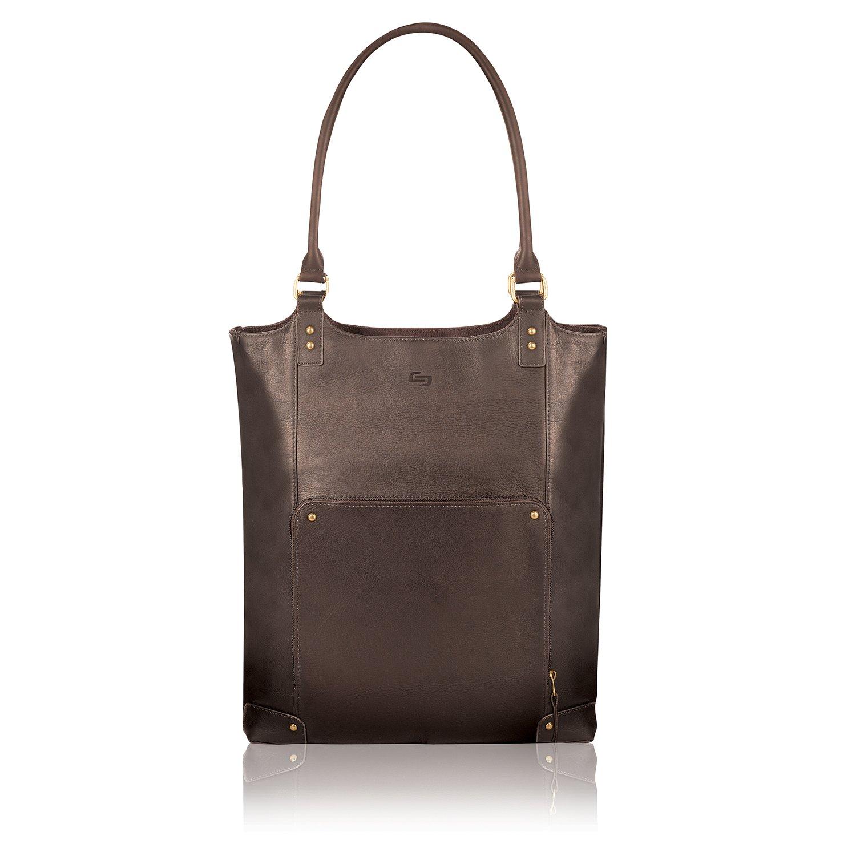 Espresso Solo Chambers 16 Inch Premium Leather Laptop Bucket Tote