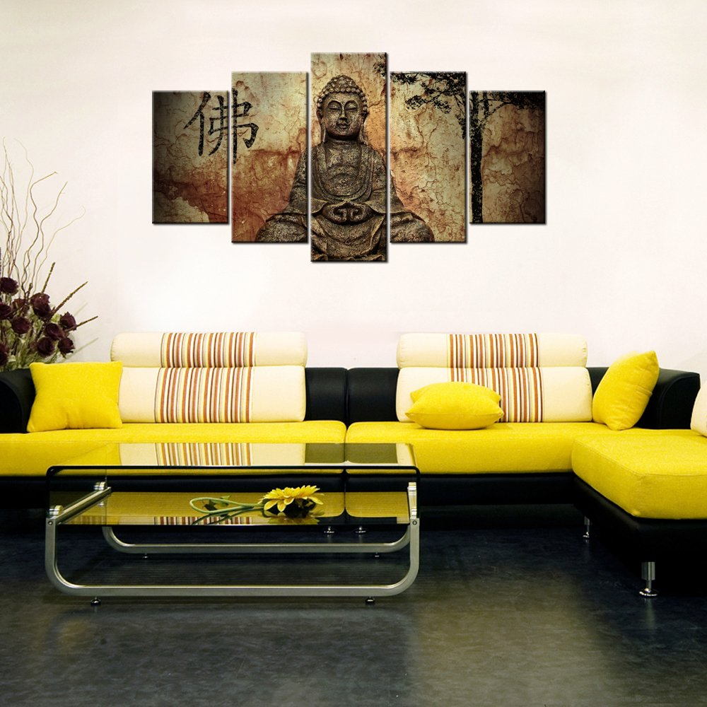 Amazon.com: VVOVV Wall Decor - 5 Piece Wall Art Peaceful Buddha ...
