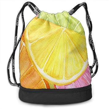 a52159d15608 Amazon.com: Drawstring Bag Lemon Watercolors Paintings Womens Gym ...