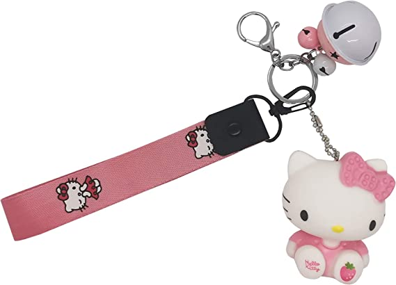 CUTE Mini WHITE Cat Key chain Keychain Plastic Keyring Kitten small Kitty charm