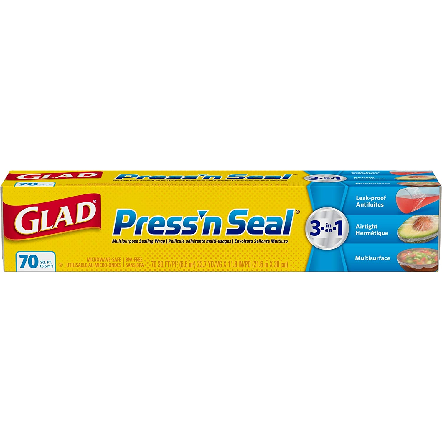 Glad Press'n Seal Food Plastic Wrap - 70 Square Foot Roll, 12 Rolls/Case (70441)