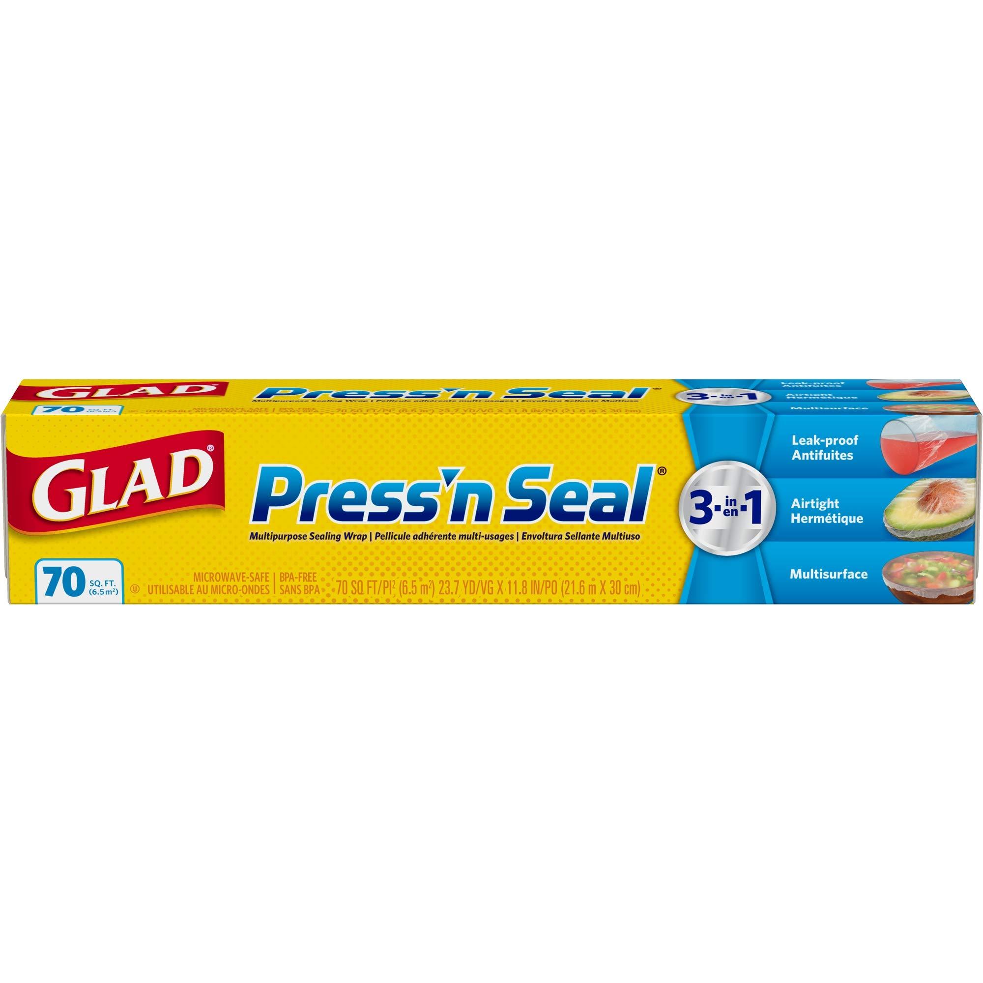 Glad Press'n Seal Food Plastic Wrap - 70 Square Foot Roll, 12 Rolls/Case (70441) by Glad