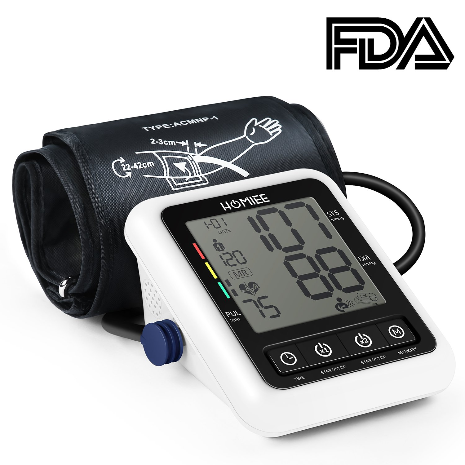 Blood Pressure Machine, HOMIEE Blood Pressure Monitor with AFIB Detection, 2 Users 240 Memories, 2.4'' LCD Display & 22-42CM Large Arm Cuff, 4x AA Batteries Included, No Adapter, FDA&CE Approved, White