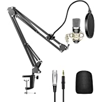 Neewer Condenser Microphone Kit - NW-700 Mic(Black), NW-35 Suspension Boom Scissor Arm Stand with Mount Clamp, Shock…