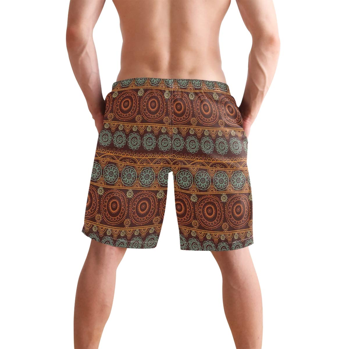 COVASA Mens Summer ShortsAbandoned House Into Wilderness by River Hillside Wit
