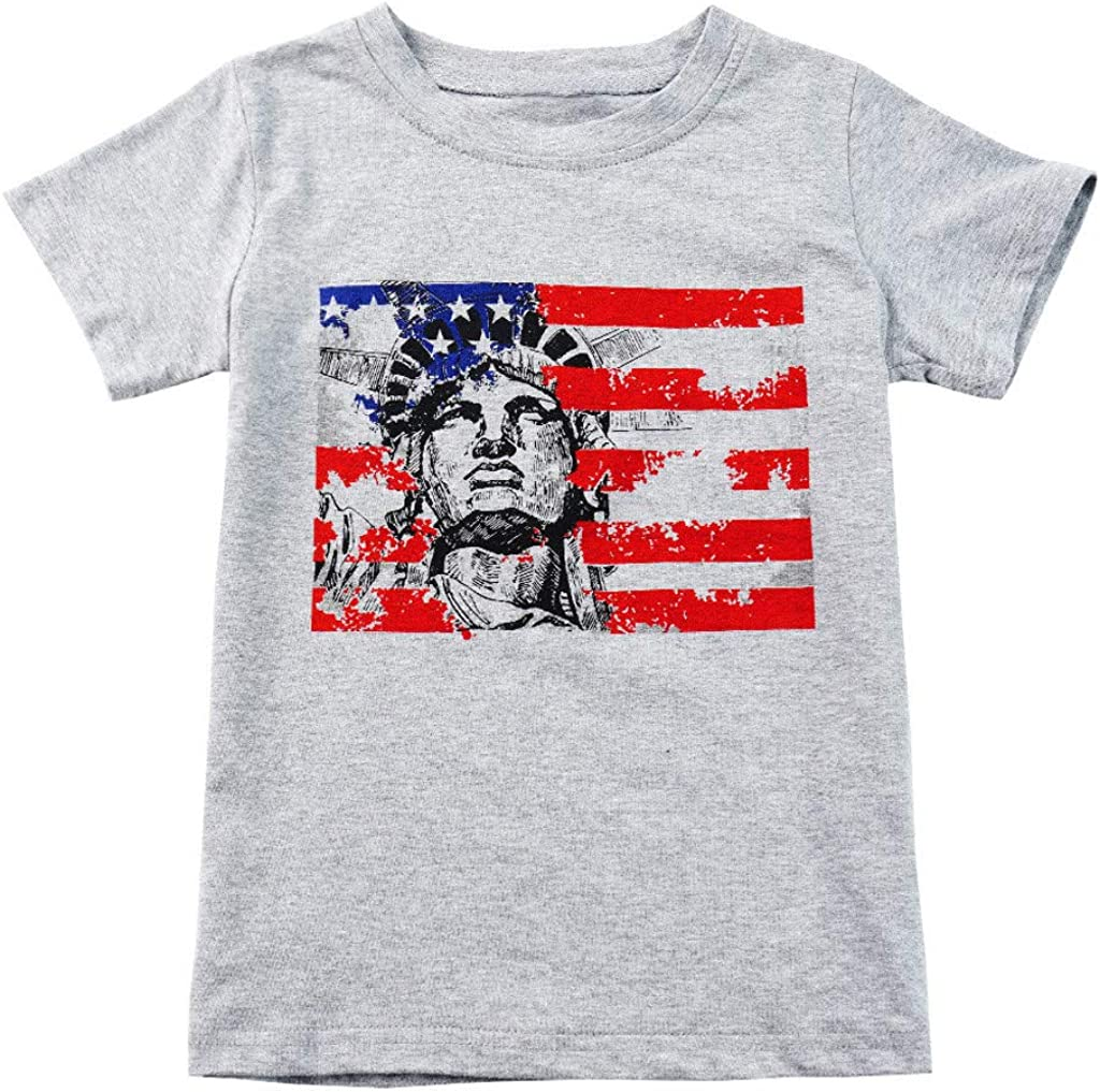 TIANRUN 4th of July Stars Stripes T-Shirt Tee Little Kids//Toddler Baby Boys Girls Short Sleeve Sweatshirt Tops