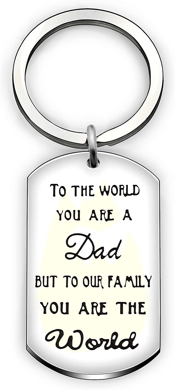 Llavero de padre con anillo, regalo del día del padre, padre, padre, familia, llavero, soporte – para el mundo que eres un papá, pero para nuestra familia, eres el mundo
