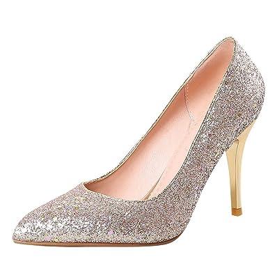 Mee Shoes Damen Stiletto Zweifarbig Spitz Slip on Pumps