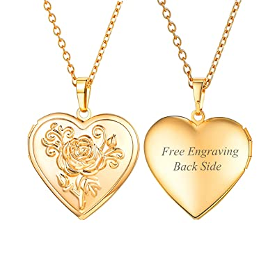 c6e268bb86 U7 Flower Heart Locket Necklace Black Side Engravable 18K Gold Plated Photo Locket  Pendant Personalized for