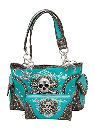 f3ac70472594 HW Collection Western Rhinestone Skull Concealed Carry Handbag and Wallet  Turquoise