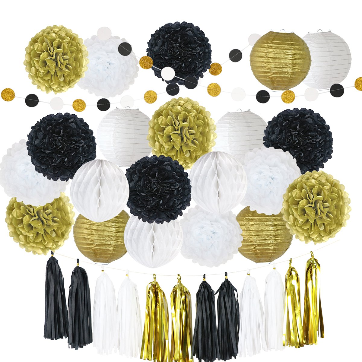 LITAUS Black and Gold Birthday Party Decorations, Tissue Pom Poms, Paper Lanterns, Paper Garland Circle Dots Hanging Decorations for Birthday Party Supplies
