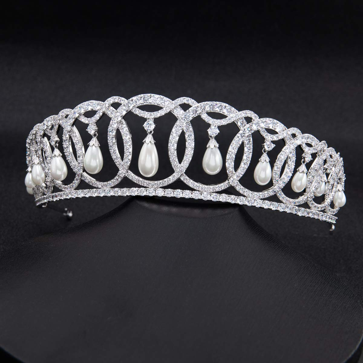 SepBridals Classic Cubic Zirconia CZ Pearls Wedding Bridal Tiara Crown Diadem Women Hair Accessories CH10223 by SEPBRIDALS (Image #6)