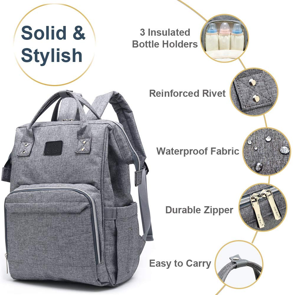 Great for New Mom Dad Free Baby Bib /& eBook Stroller Straps Neutral Nappy Changing Backpack Baby Bag for Mum Baby Changing Bag Rucksack Nappy Backpack Travel Diaper Bag with Insulated Pockets