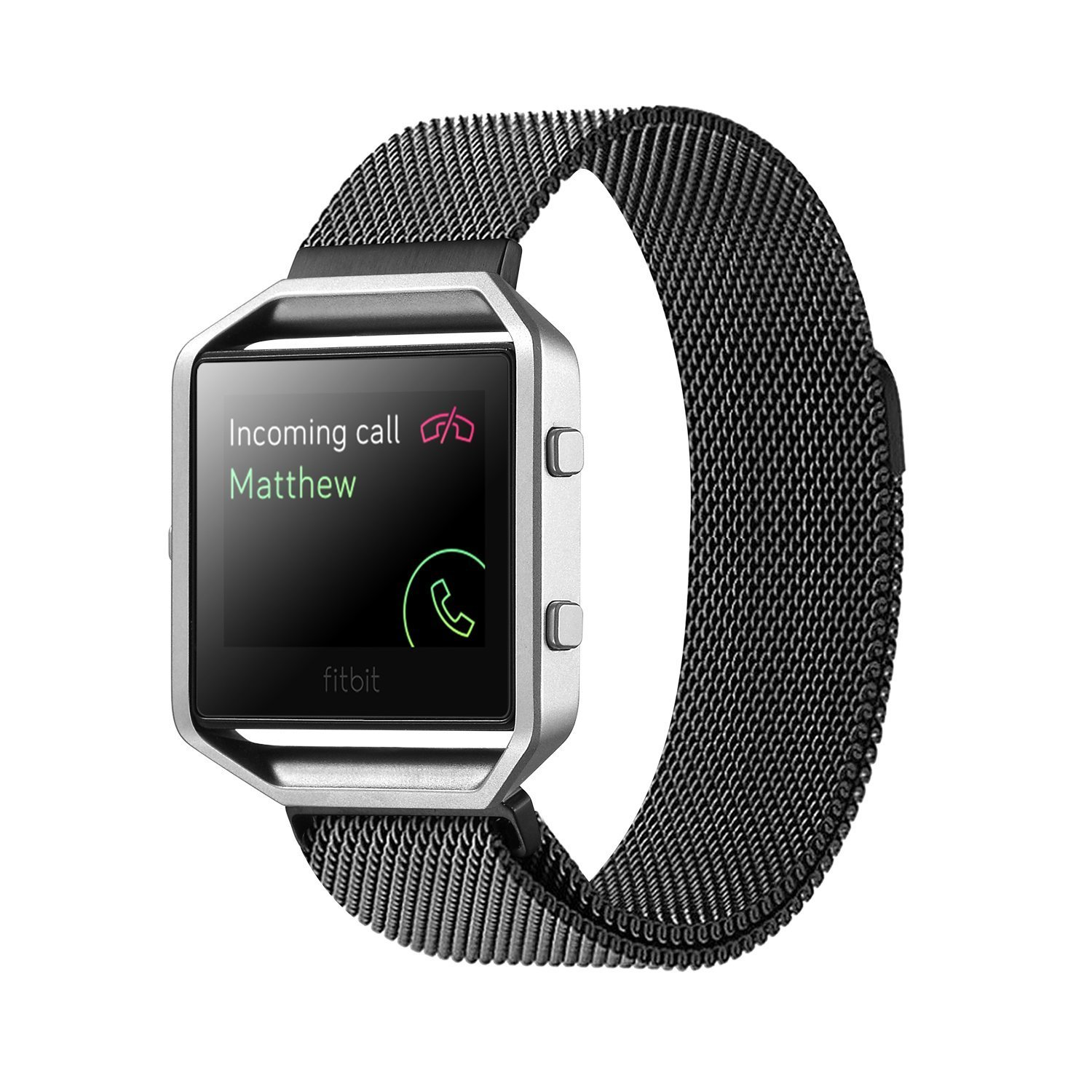 Fitbit Blaze Accessory Band Large (6.7-8.1 in),Vitech Milanese loop stailess steel Bracelet Strap for Fitbit Blaze Smart Fitness Watch, Black, Silver, Large with unique Magnet lock (Black)