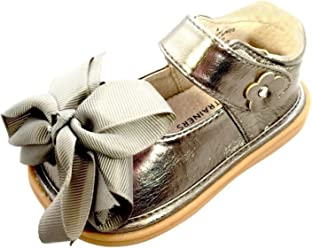 263d68984c38 Mooshu Trainers Little Girls Pewter Bow Squeaky Mary Jane Shoes 5-9 Toddler  Gray