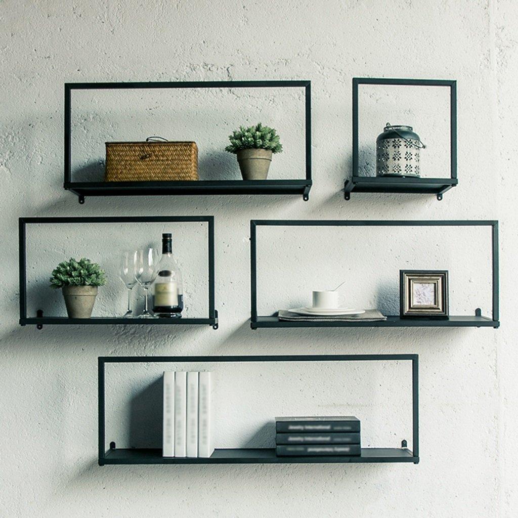 CSQ Wrought Iron Wall Hanging Storage Racks, Creative Iron Art Decorative Storage Shelf Bedroom Hotel Living Room Cafe Decorative Storage Shelf 303022CM, 553022CM, 703022CM, 903022CM