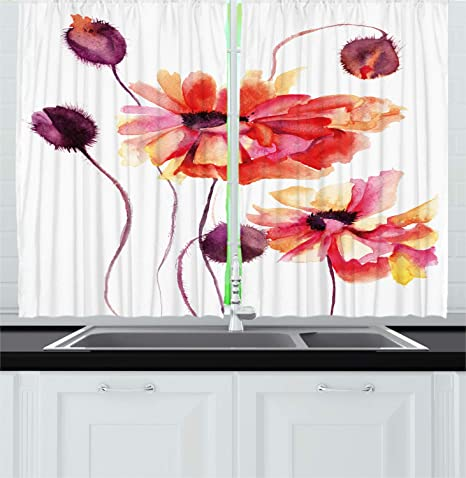 Ambesonne Floral Kitchen Curtains, Watercolor Painting Poppy Flowers And  Buds Artistic Spring Nature Design,