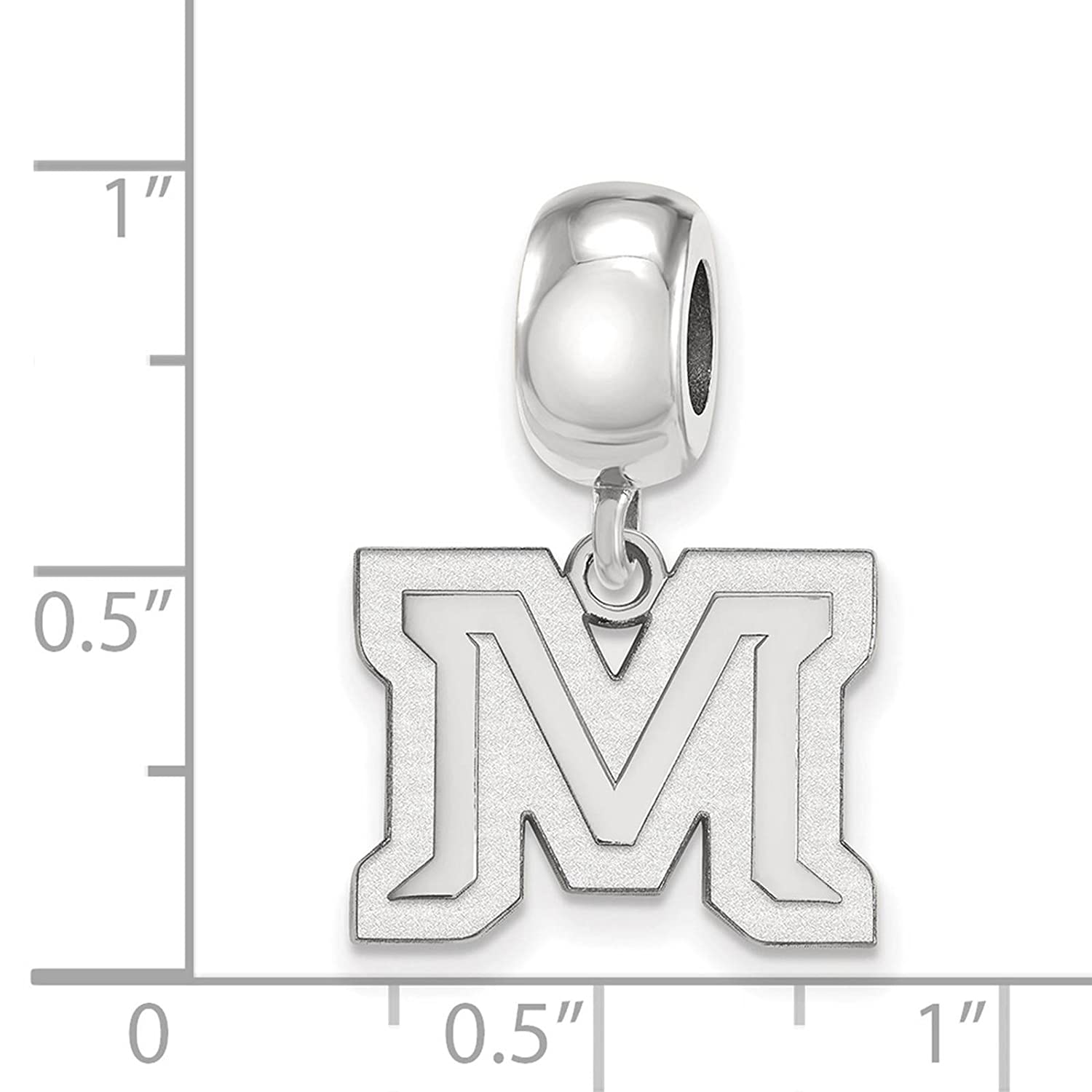 925 Sterling Silver Rhodium-plated Laser-cut Montana State University Small Dangle Bead Charm
