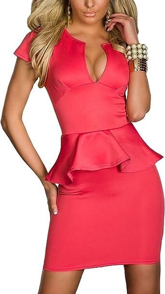 TALLA XXL. Boliyda Bodycan de corte bajo vestido delgado Slim club vestido informal para las mujeres Rosa Roja XXL
