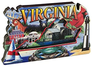 Virginia State Montage Wood Souvenir Refrigerator Magnet