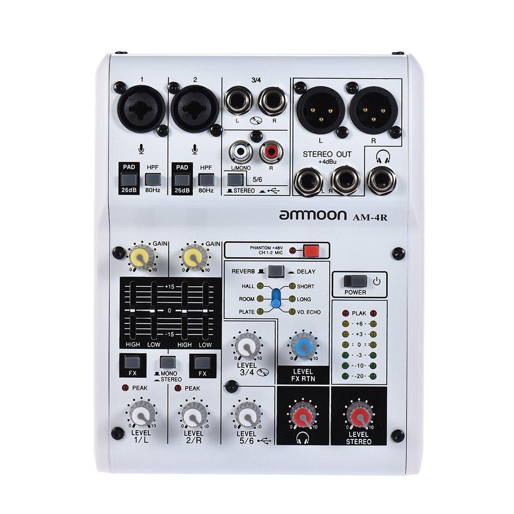 ammoon 6-Kanal-Soundkarte Digitaler Audio-Mixer Mischpult Eingebauter 48V Phantomspeisung Powered by 5V Power Bank mit Netzadapter USB-Kabel für die Aufnahme von DJ Network Live Broadcast Karaoke (6kanal) SR-006