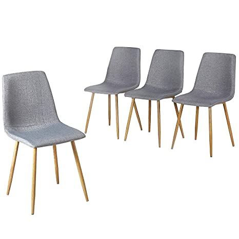 VECELO - Juego de 4 sillas de Comedor con Respaldo de cojín ...