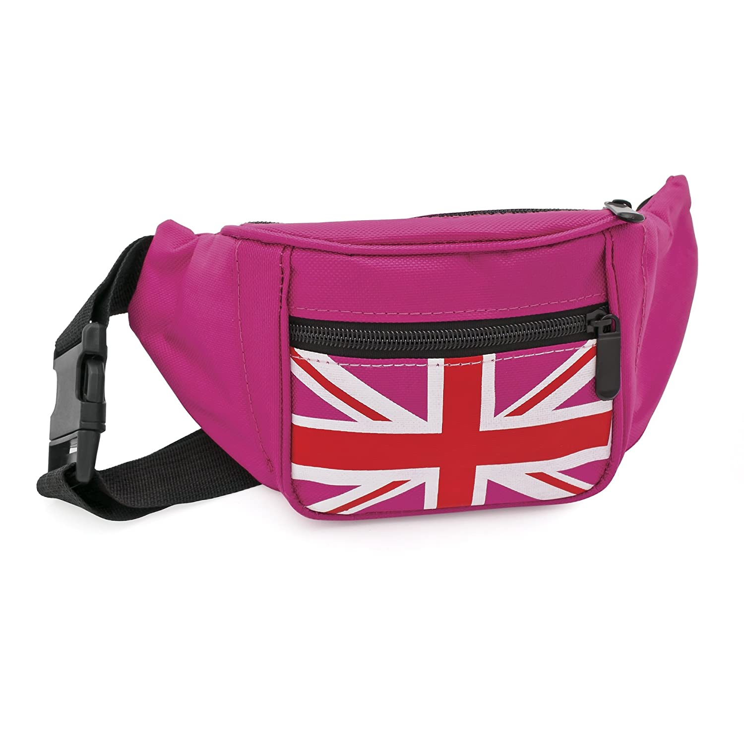Bum Bag fanny Pack Festival Money Waist Pouch Travel Canvas Belt Grunge Neon (Fuchsia pink Union Jack)