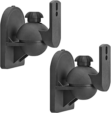 Amazon Com Cmple Universal Satellite Speaker Mount Swivel Tilt Speaker Wall Mount Brackets Up To 7 7lbs With Adjustable Angle Rotation For Surround Sound System 1 Pair Black Home Audio Theater