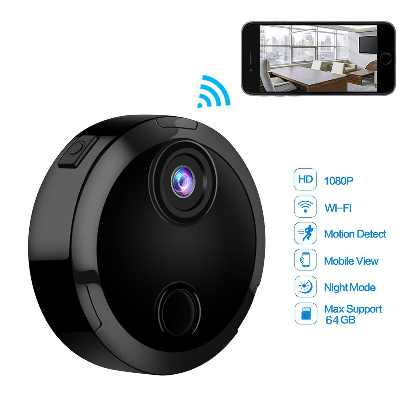 Mini telecamera WiFi, Longsonk HD 1080p wireless telecamera visione notturna a infrarossi micro videocamera auto sport DV telecamera di sicurezza per iPhone/iPad/Android Phone Remote View con rilevatore di movimento HDQ15