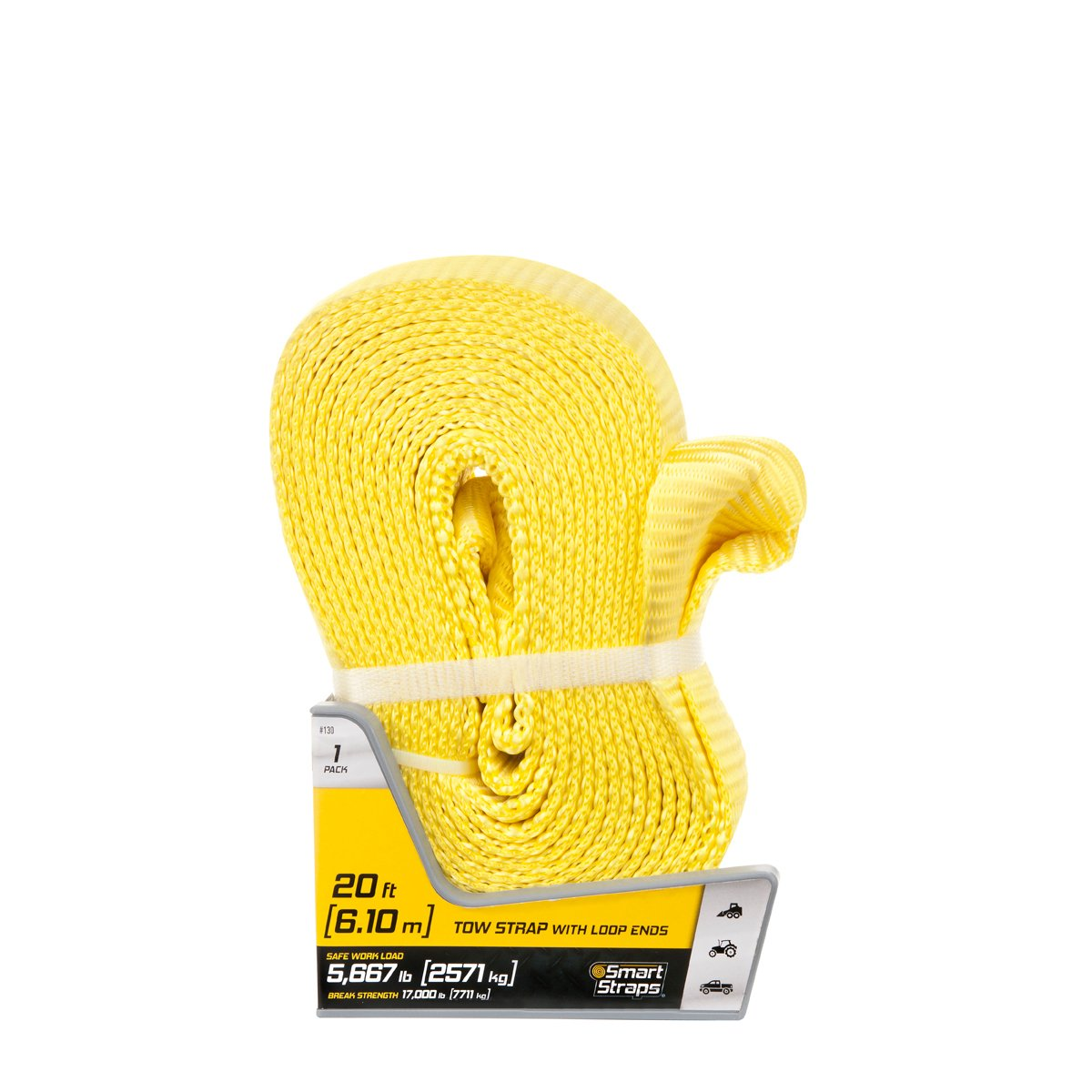 Commercial and Recreational Use 5,660lb Safe Work Load Ideal for Home SmartStraps 20/' Tow Strap with Loop Ends Yellow Auto 17,000lb Break Strength Recover Stuck Vehicles and Small Machinery
