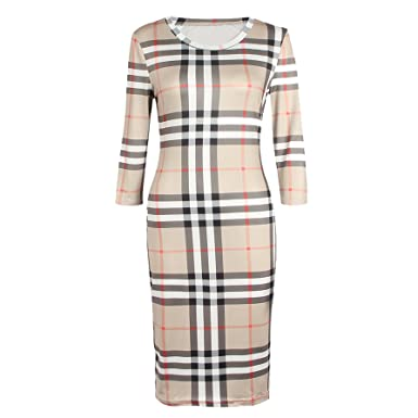Sommerkleid Damen Kariert Gestreift Shirtkleider 3 4-Arm Bekleidung  beiläufige Kleid Strickkleider Jerseykleider A 96e35a5f4f