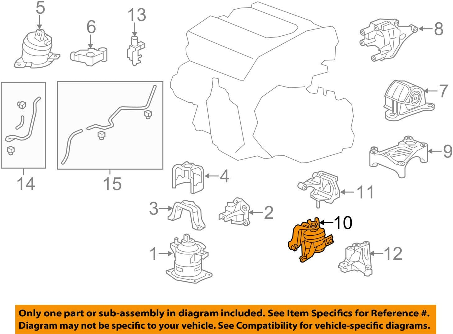 Genuine Honda 50870-T3M-A11 Transmission Mounting Rubber Assembly Upper