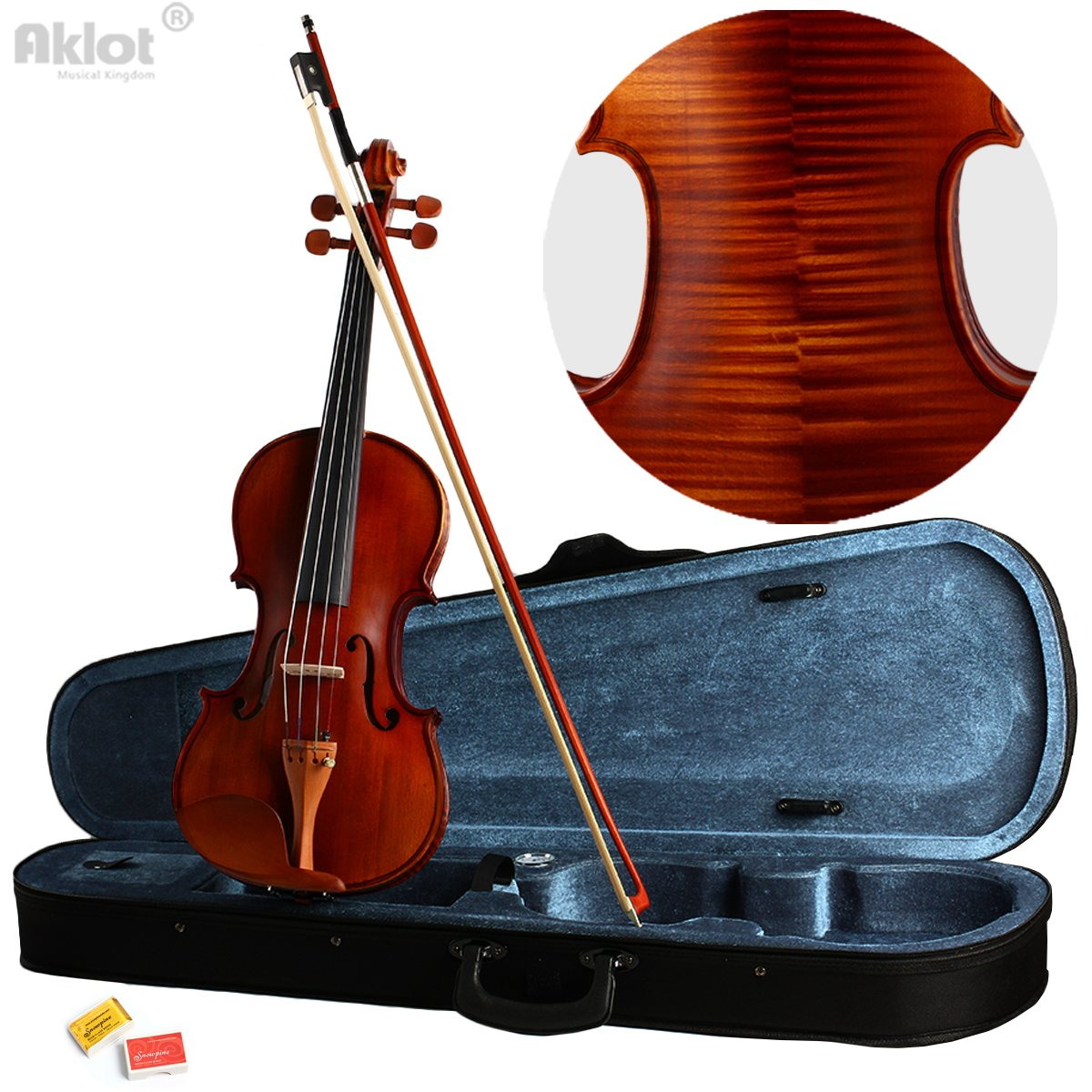 Aklot Vilolin 4/4 Full Size Fiddle Antique Natural Acoustic Solid Wood With Case Bow Rosin New Ltd