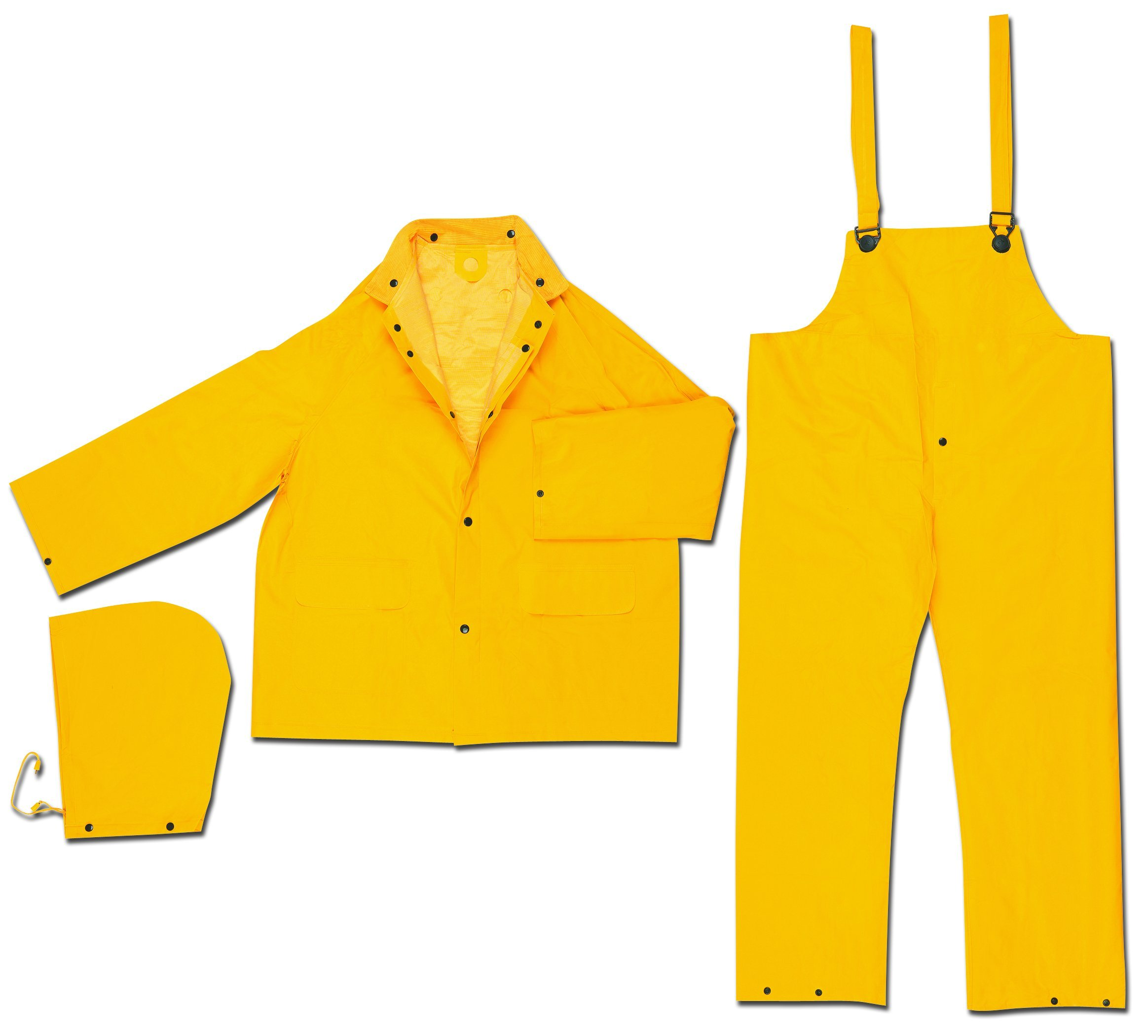 MCR Safety 2403S Classic Plus PVC/Polyester 3-Piece Corduroy Collar Rain Suit with Detachable Hood and Bibpant, Yellow, Small by MCR Safety (Image #1)