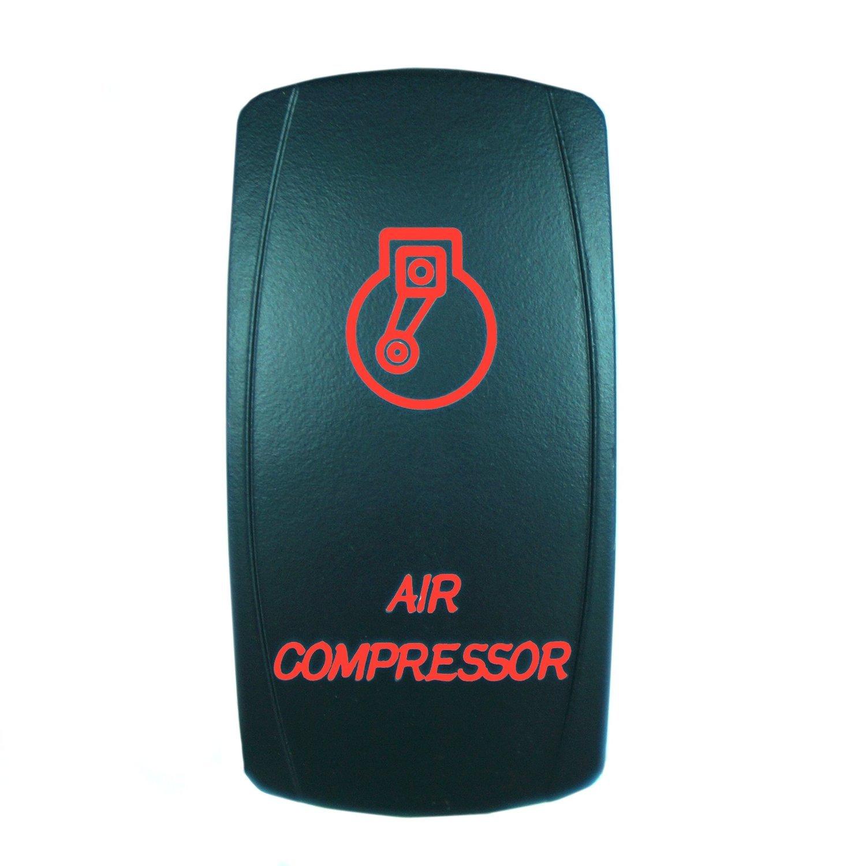 Green QUNQI STAR 5 pin Laser Backlit Rocker Switch AIR COMPRESSOR 20A 12V On//off LED Light Toggle Switch