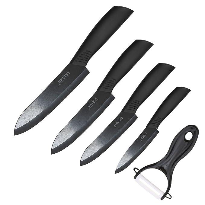 Jeslon cuchillos de cocina de cerámica, 5 piezas cuchillo de cocina profesional conjunto con chaquetas de protección cuchillos de cerámica ligeros ...