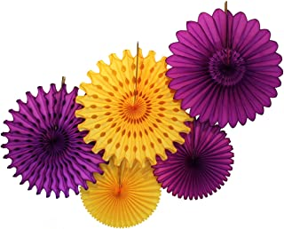 product image for Devra Party 5-Piece Tissue Paper Fans, Royalty Purple Gold