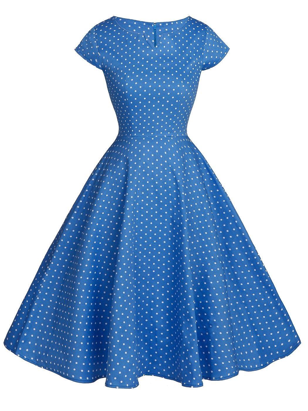 TALLA XL. FAIRY COUPLE 1950S Vintage Rockabilly Lunares Cap Mangas Vestido de Baile DRT019 Puntos Blancos Azules XL