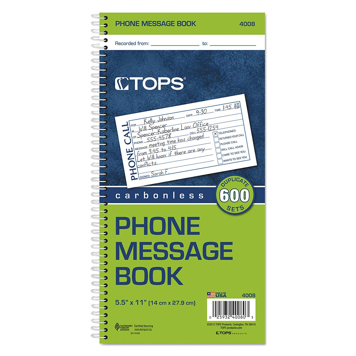 TOPS Message/While You were Out Carbonless Duplicate, 5.5 x 11 Inches, 600-Set Book (4008), Pack of 14
