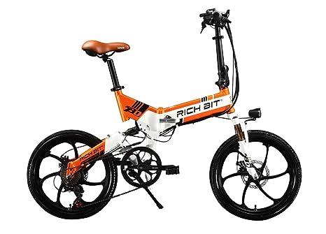 Bicicleta eléctrica bicicleta plegable RT730 Ciclismo 250 W * 48V 8Ah 7Speed Equipada funda para teléfono cargador y soporte doble freno de disco ...